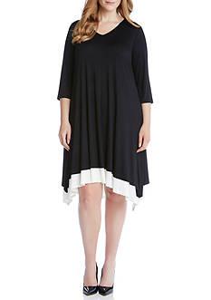 Karen Kane Plus Size Layered Handkerchief Hem Dress
