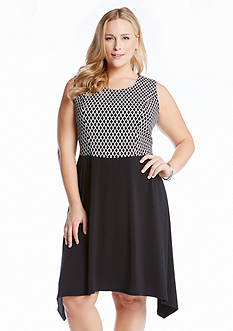 Karen Kane Plus Size Diamond Contrast Dress