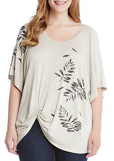 Karen Kane Plus Size Leaf Print Pick Up Top
