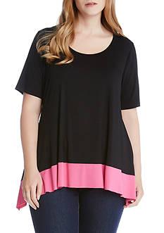 Karen Kane Plus Size Colorblock Hem Top
