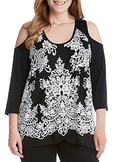 Karen Kane Plus Size Lace Overlay Cold Shoulder Top