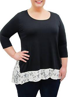 Karen Kane Lace Contrast Hi-Lo Top