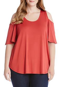 Karen Kane Plus Size Cold Shoulder Shirttail Top