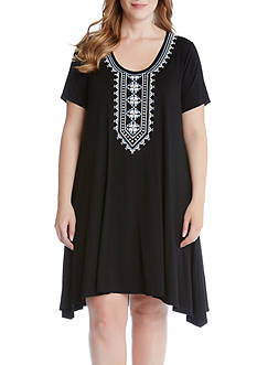 Karen Kane Plus Size Embroidered Handkerchief Dress