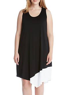 Karen Kane Plus Size Colorblock Asymmetric Hem Tank Dress