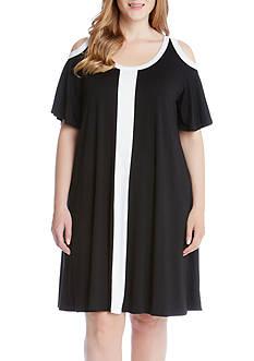 Karen Kane Plus Size Color Block Cold Shoulder Dress