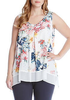 Karen Kane Plus Size Sleeveless Contrast Hem Top