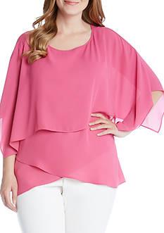 Karen Kane Plus Size Layered Crossover Top