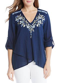 Karen Kane Crossover Embroidered Top