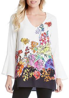 Karen Kane Floral Border Bell Sleeve Tunic