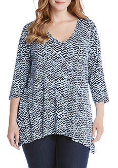 Karen Kane Plus Size Three-quarter Sleeve Swing Top