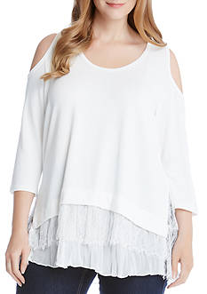 Karen Kane Plus Size Cold Shoulder Lace Insert Top