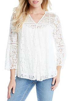 Karen Kane Multi Lace Bell Sleeve Top