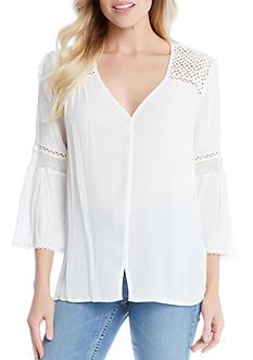 Karen Kane Flare Sleeve Lace Trim Top