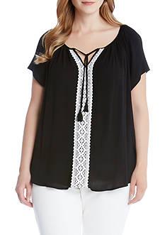 Karen Kane Plus Size Lace Trim Raglan Sleeve Top