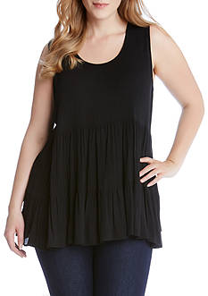 Karen Kane Plus Size Sleeveless Double Ruffle Top