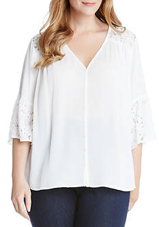 Karen Kane Plus Size Flare Sleeve Lace Inset Top