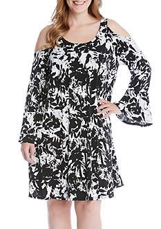 Karen Kane Plus Size Cold Shoulder Flare Sleeve Dress