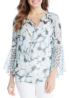 Karen Kane Flare Sleeve Shirttail Top