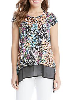 Karen Kane Asymmetrical Sheer Floral Knit Top