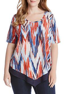 Karen Kane Plus Size Contrast Hem Top