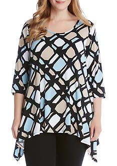 Karen Kane Plus Size 3/4 Sleeve Handkerchief Top