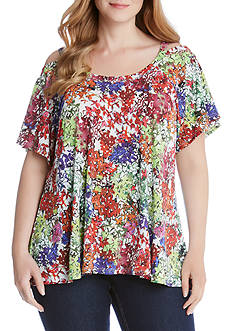 Karen Kane Plus Size Flutter Sleeve Cold Shoulder Top