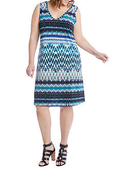 Karen Kane Plus Size Batik Stripe Bridgitte Dress