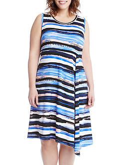 Karen Kane Plus Size Painted Stripe Side Drape Dress