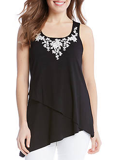 Karen Kane Asymmetric Embroidered Tank
