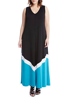 Karen Kane Plus Size Color Block Maxi Dress