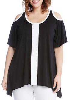 Karen Kane Plus Size Cold Shoulder Colorblock Top