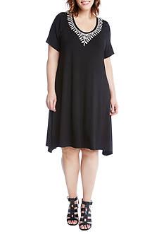Karen Kane Plus Size Embroidered Handkerchief Dress