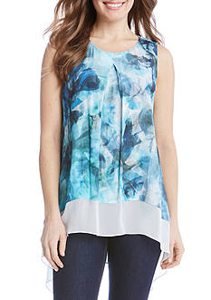 Karen Kane Sea Glass Contrast Hem Top