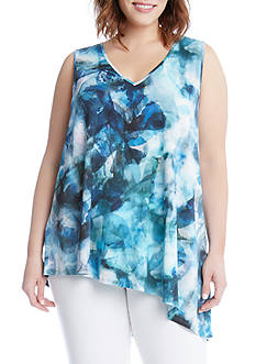 Karen Kane Plus Size Sea Glass Asymmetric Top