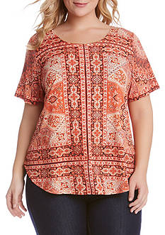 Karen Kane Plus Size Sagebrush Shirttail Hem Top