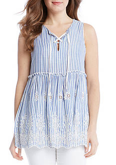 Karen Kane Lace Up Embroidered Sleeveless Top