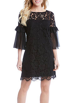 Karen Kane Ruffle Sleeve Lace Dress