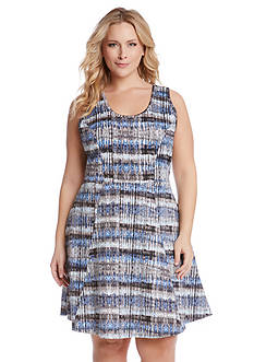 Karen Kane Plus Size Printed Fit and Flare Dress