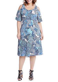 Karen Kane Plus Size Paisley Cold Shoulder Dress
