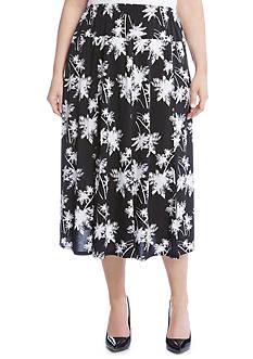 Karen Kane Plus Size Palm Print Skirt