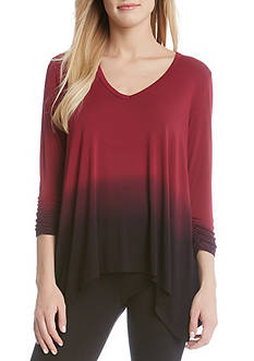 Karen Kane Ruched Sleeve Ombre Dye Tee