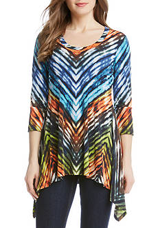 Karen Kane Painted Chevron Handkerchief Top