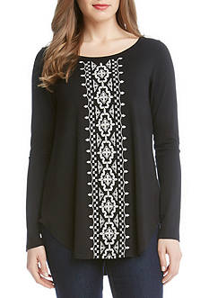 Karen Kane Long Sleeve Embroidered Top