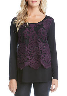 Karen Kane Flare Sleeve Embroidered Top