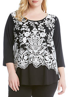 Karen Kane Plus Size Sleeve Lace Overlay Top