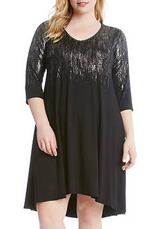 Karen Kane Plus Size Ombre Metallic Dress