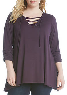 Karen Kane Plus Size Ruched Sleeve Lace-Up Top
