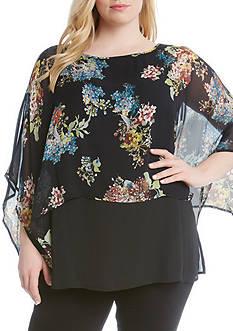 Karen Kane Plus Size Floral Print Double Layer Top