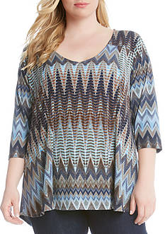 Karen Kane Plus Size Desert Zig-Zag V-Neck Top